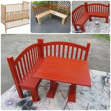Bench And Table Set Kids Corner Bench And Table Set Upcycled Crib Idea
