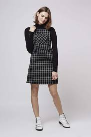 topshop tall check pinafore dress in black lyst