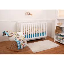 Woodland Nursery Bedding Set by Little Bedding By Nojo Reversible Woodlands Blue Leaf Print 6