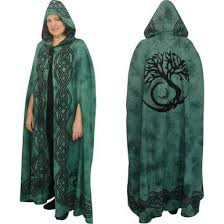 ritual robes and cloaks green black celtic tree of cotton hooded cloak cape or