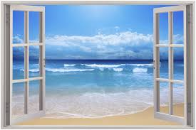 Mural Stickers For Walls Huge 3d Window Exotic Beach View Wall Stickers Film Mural Art