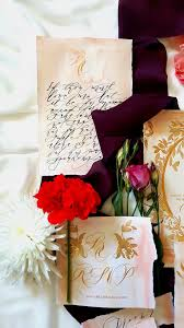 handwritten calligraphy wedding invitations with gold foil