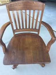 Wood Desk Chair by Antique Bankers Chair Ebay
