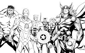 marvel super hero lineart avengers printable color pages coloring