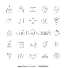 happy birthday simple design happy birthday party vector big outline stock photo photo vector