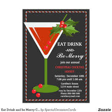 eat drink and be merry christmas cocktail party card christmas