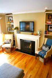black fireplace plus white mantel combined with tv above on the