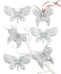 set of 6 boxed silver butterfly ornaments undefined