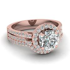 Engagement Wedding Ring Sets by Rose Gold Round White Diamond Engagement Wedding Ring In Pave Set
