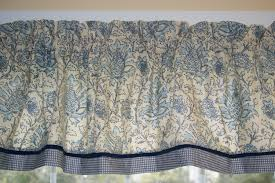 whimsical blue beige floral toile valance 17 x 81