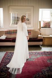 scottish wedding dresses fiona wearing a sleeved wedding dress for scottish wedding