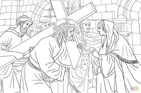 sixth station veronica wipes the face of jesus coloring page
