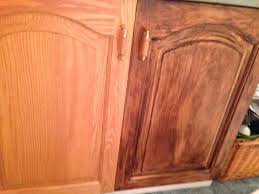how to use minwax gel stain on kitchen cabinets oak cabinet on left and stained with minwax gel stain