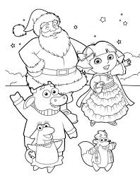 dora christmas coloring dora and santa christmas coloring page