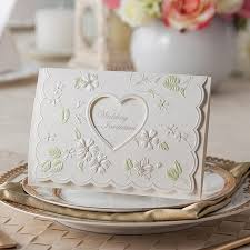 embossed wedding invitations hollow out heart wedding invitations embossed floral wedding