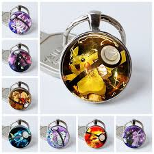 round key rings images Pikachu pokemon pokeball silver plated key chains umbreon round jpg
