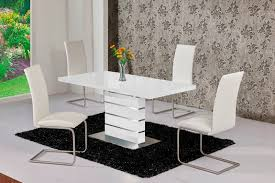Dining Room Tables White Mace High Gloss Extending 120 160 Dining Table Chair Set White