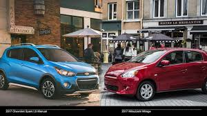 2017 mitsubishi mirage es vs 2017 chevrolet spark ls manual