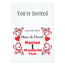 1 yr anniversary 1 year anniversary invitations announcements zazzle