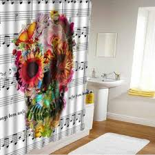 180x180cm 3d waterproof halloween colorful skull polyester shower