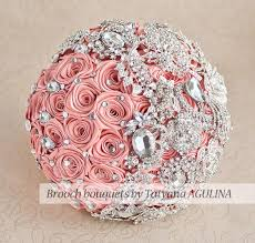 quinceanera bouquets brooch bouquet coral and silver wedding brooch bouquet jeweled