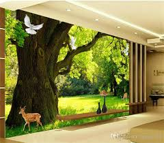 Sho Natur nature green tree pigeon photo wallpaper mural for living room tv