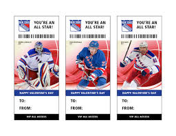 hockey valentines cards new york rangers hockey s day card ticket