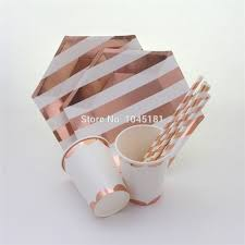 striped paper canape plates and paper party cups rose gold foil
