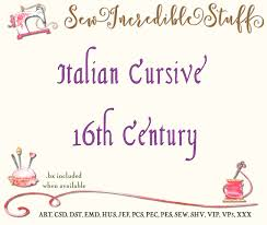 italian cursive script machine embroidery font from