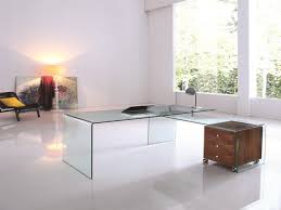 L Shaped Glass Desks Ultra Chic Glass L Shaped Desk With Included Walnut Cabinet