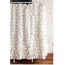 Ruffled Shower Curtains Waterfall Ruffled Fabric Shower Curtain White Home