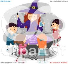 clipart halloween witch and stick kids around a cauldron royalty