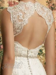 backless lace full length wedding dress with train dbw014 3