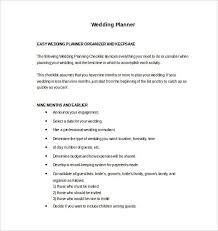 9 wedding planner samples u0026 templates pdf word