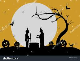 the background of halloween illustration two witches making potion against stock illustration