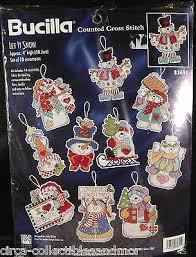 bucilla let it snow cross stitch set of 10 snowmen