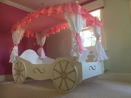 Pink Canopy Bed Bedroom Cute Princess Carriage Bed For Cozy Kids Bedroom Design
