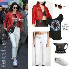 Leather And Lace Clothing Kendall Jenner U0027s Red Leather Jacket And White Lace Up Pants Look