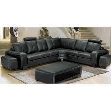 canapé d angle pouf canapé d angle en cuir noir avec têtières pouf achat vente