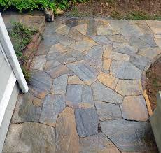 Flagstone Patio On Concrete by Stone Path Walkways Dry Stone Pathways Over Bad Concrete