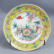 canton porcelain canton porcelain plate bats and flowers china end 19th century