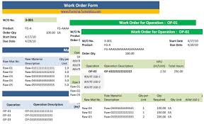 Excel Order Sheet Template Work Order Form Template In Excel Spreadsheet