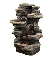 Water Fountain Home Decor by Amazon Com Sunnydaze Stacked Shale Electric Outdoor Waterfall