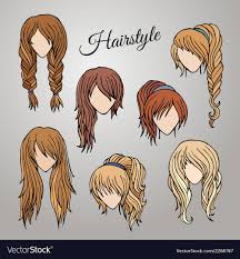 different hair different hairstyles royalty free vector image