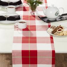 plaid table runner crate and barrel