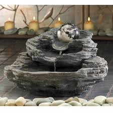 Small Water Fountains For Desk Spinning Orb Layered Rock Indoor Small Zen Tabletop Water