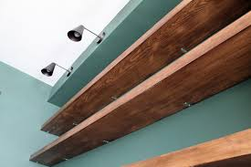 Free Standing Wood Shelves Plans by Diy Solid Wood Wall To Wall Shelves Chris Loves Julia
