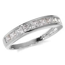 white gold band absolute 1ctw cubic zirconia princess cut channel 14k white gold