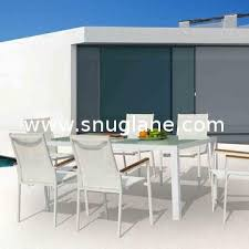 outdoor dining table set with aluminum glass top textilene sling