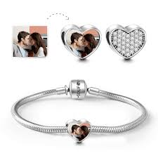 snake chain bracelet charms images Gift for her snake chain bracelet with heart photo charm silver png